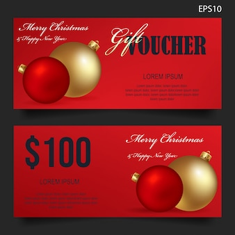 Chistmas gift voucher on red background