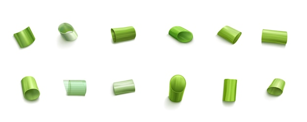 Erba cipollina tagliata a fette di cipolla verde o aglio isolato insieme. verde primavera fresca, erba tritata, foglie di allium organico naturale, verdura di porro, illustrazione 3d realistica