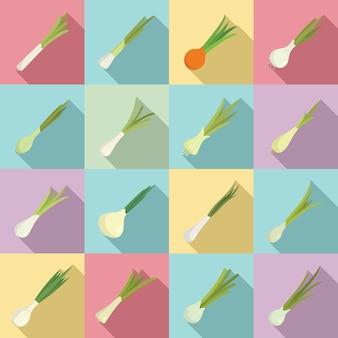 Набор иконок зеленый лук плоский вектор. сельское хозяйство. завод свежих овощей