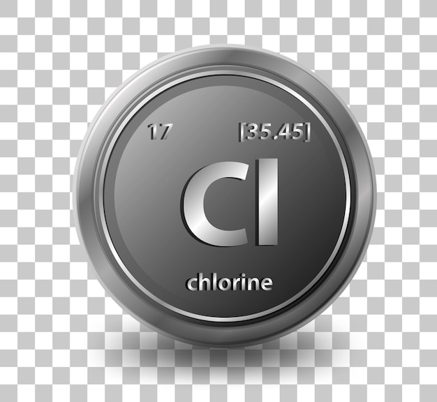 Chlorine chemical element. chemical symbol with atomic number and atomic mass.