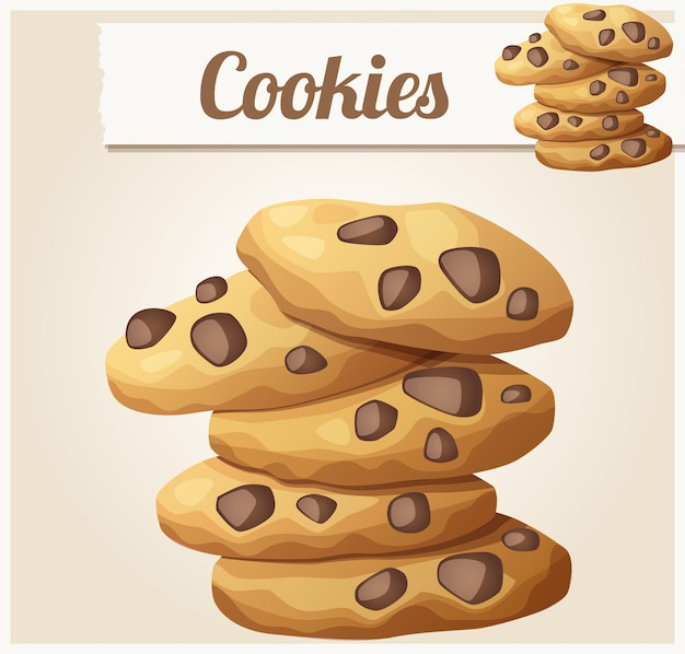 Choc chip cookies  detailed vector icon