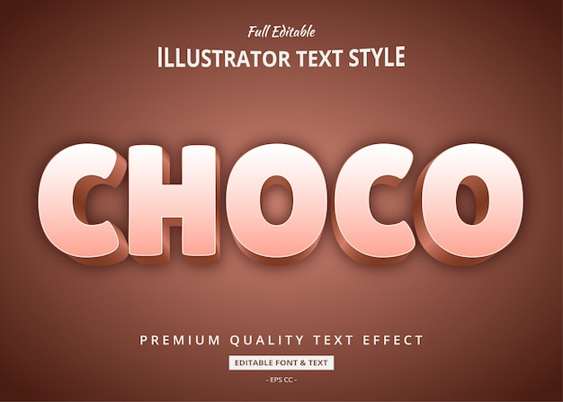 Choco 3d text style effect