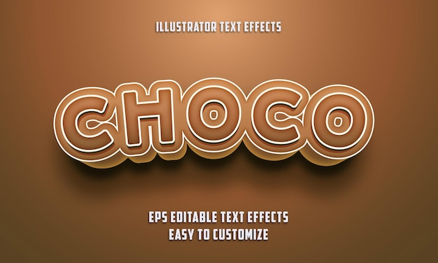 Choco brown color editable text effects style