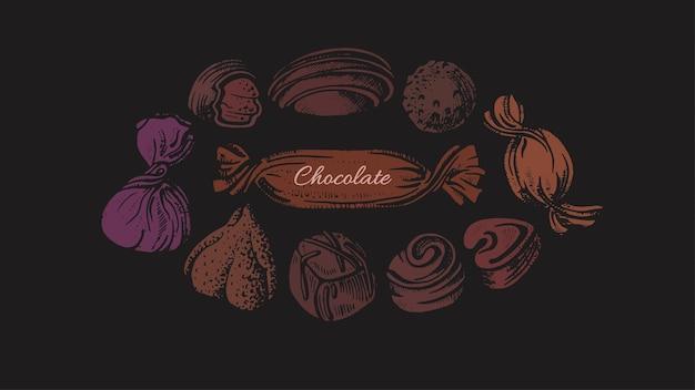 サークルのチョコキャンディー。アートの形、砂糖の甘い食べ物。グラフィックイラスト