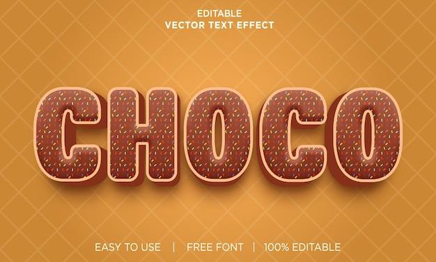 Редактируемый текстовый эффект choco с премиум векторы