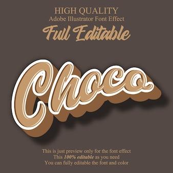 Choco script style editable font effect