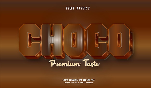 Шоколадный текстовый эффект дизайн вектор