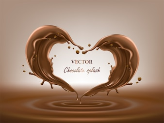 Chocolate abstract splashes 3d illustration