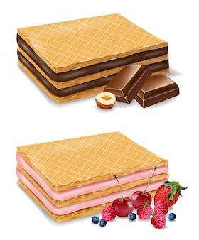 Шоколадно-ягодное вафельное печенье дизайн Premium векторы
