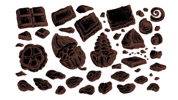 チョコレートとカカオ。果物と豆のセット。手描きのアウトラインスケッチ、自然な甘い食べ物