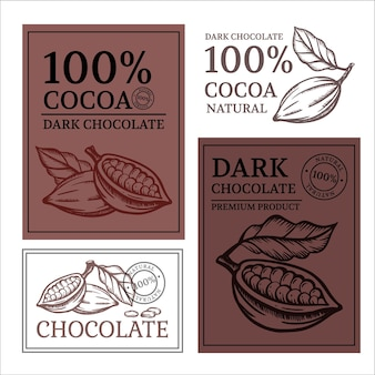 Шоколад и какао дизайн наклеек и этикеток