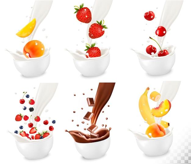 透明な背景に乳白色のスプラッシュに落ちるチョコレートとカラフルな新鮮な果物..ベクトル図