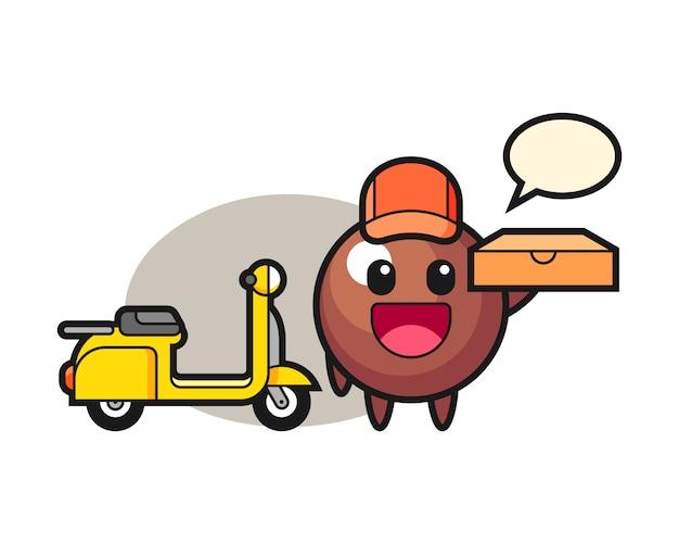 Мультфильм шоколадный шарик как доставщик пиццы