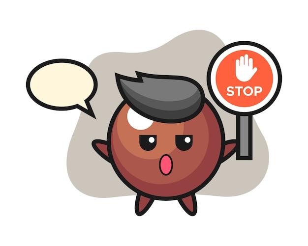 Chocolate ball cartoon holding a stop sign