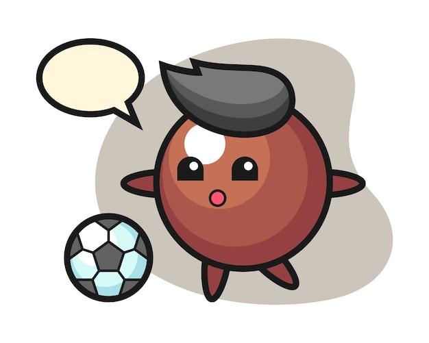 Мультфильм шоколадный шарик играет в футбол