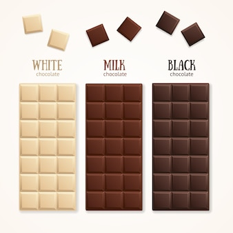 초콜릿 바 블랭크 - 우유, 흰색 및 어두운 색