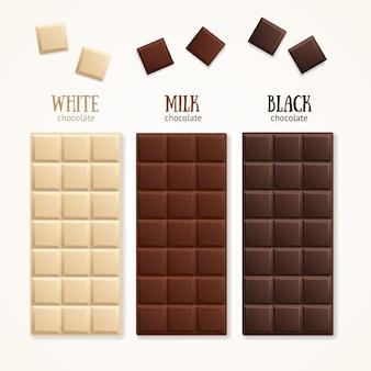 Chocolate bar blank - milk, white and dark