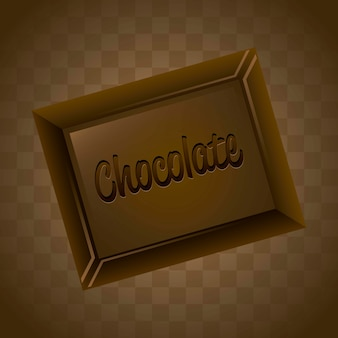 Chocolate bar over brown background vector illustration
