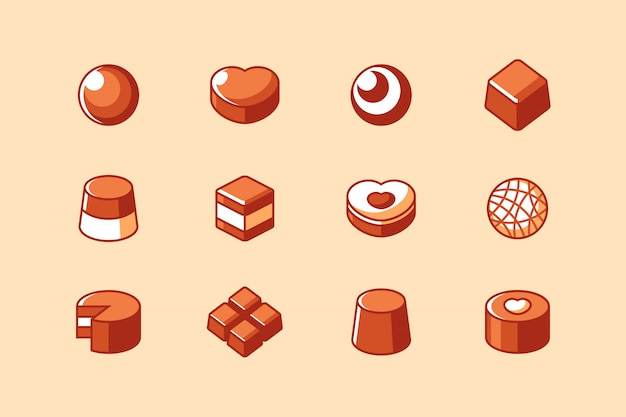 Chocolate bar and candy icon set