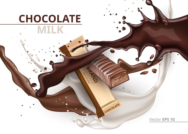 Chocolate bar caramel realistic mock up vector label design. splash and chocolate drops background