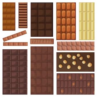 Шоколадный батончик мультфильм установить значок. иллюстрация сладкий десерт на белом фоне. мультфильм установить значок шоколадный батончик.