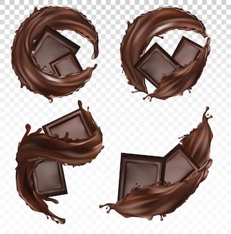Плитка шоколада, масло какао, кондитерские изделия с брызгами и вихревой шоколадной жидкостью. реалистично. кусочки шоколада на прозрачном фоне