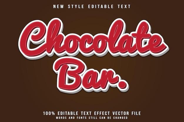 Шоколадный батончик с редактируемым текстовым эффектом с тиснением в современном стиле
