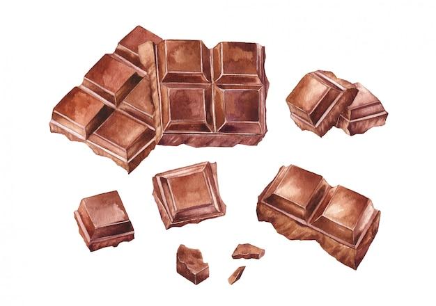Плитка шоколада. коллекция рисованной акварели
