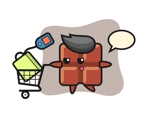 Chocolate bar illustration cartoon with a shopping cart, cute kawaii style.