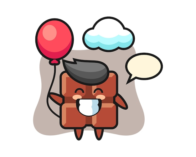 Chocolate bar mascot illustration is playing balloon, cute kawaii style.