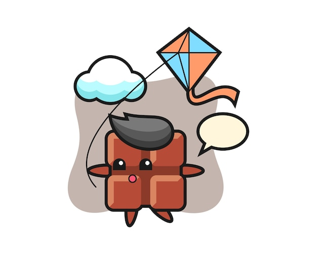 Chocolate bar mascot illustration is playing kite, cute kawaii style.