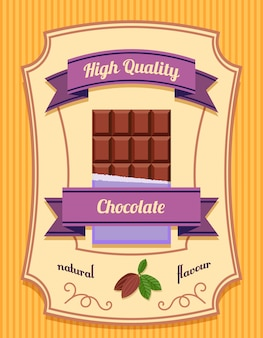 Chocolate bar pack high quality natural flavor flat poster vector illustration