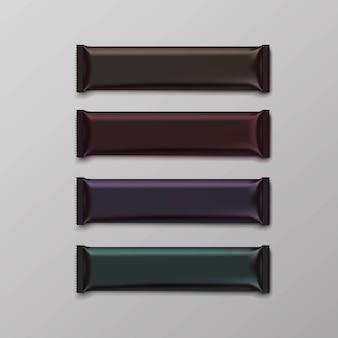 초콜릿 바 패키지 포장 흰색 팩 세트