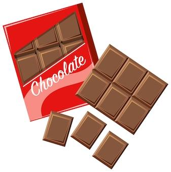 Barretta di cioccolato in confezione su bianco
