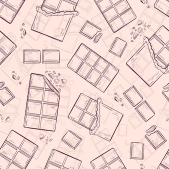 Chocolate bar seamless pattern background vector wallpaper