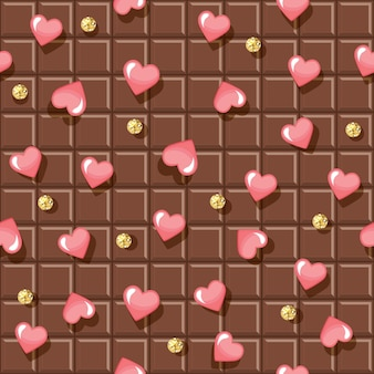 Chocolate bar seamless pattern with hearts and glitter polka dots