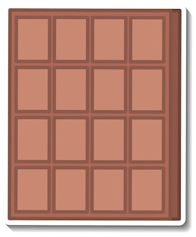 Chocolate bar sticker isolated on white