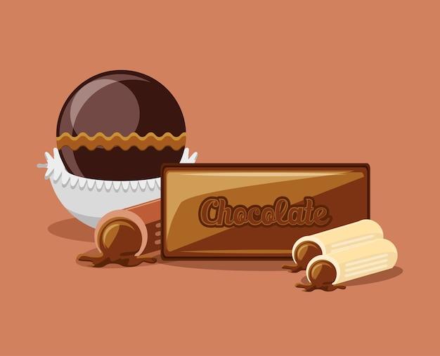Chocolate bar and truffles over orange background