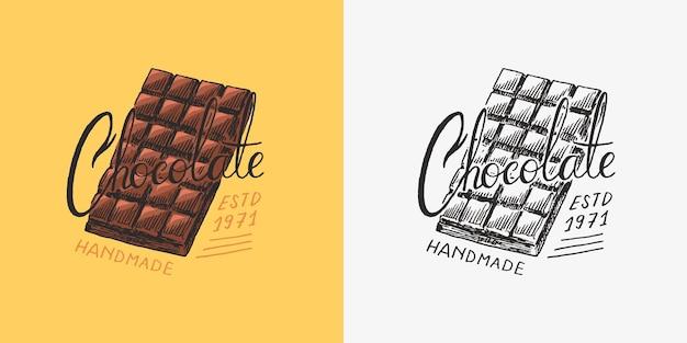 チョコレートバーヴィンテージバッジまたはtシャツタイポグラフィショップまたは看板の手描きの刻印のロゴ