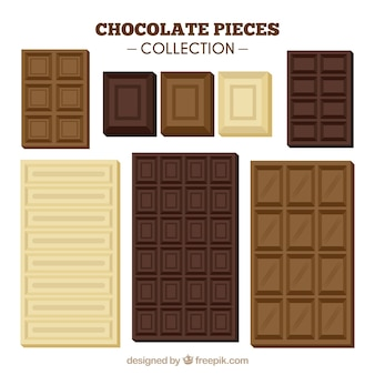 Коллекция шоколадных батончиков и кусочков с различными формами и ароматами