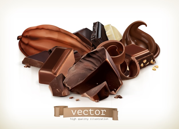 Шоколадные плитки, конфеты, ломтики, стружки и кусочки иллюстрации, изолированные на белом