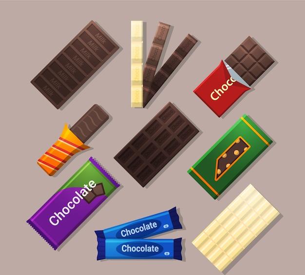 Иконки шоколадных батончиков в плоском стиле