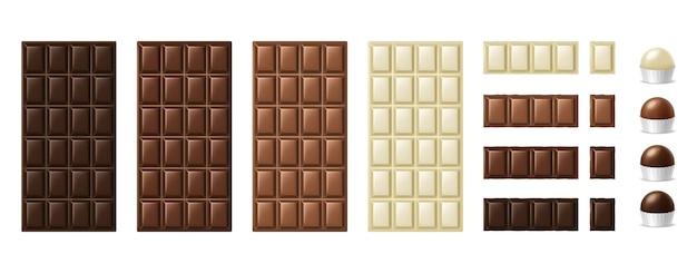 Шоколадные плитки, кусочки и конфеты. реалистичные темные кусочки темного молочного и белого шоколада, 3d блоки какао-десерта. набор сладких вкусных закусок. векторная иллюстрация