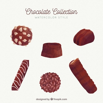 Chocolate bars and pieces collection in watercolor style