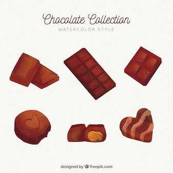 Collezione di barrette e pezzi di cioccolato in stile acquerello