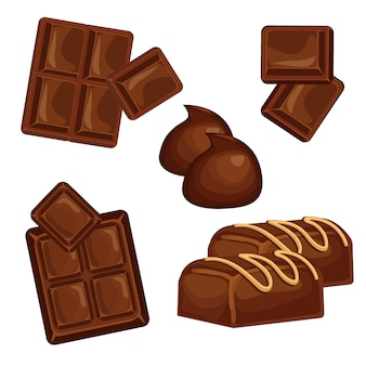 Chocolate bars and pieces vector set