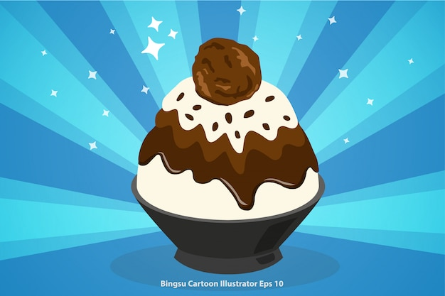 Chocolate bingsu with ice cream cartoon