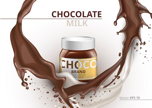 Chocolate bottle package mock up vector realistic on splash background