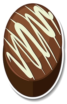 Chocolate brownie sticker isolated on white background