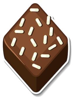 Adesivo brownie al cioccolato isolato su sfondo bianco